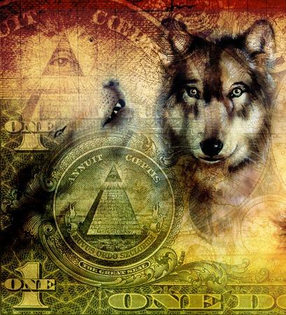 lobo: un collage de d�lar con la pintura de la cabeza del lobo en ornamentales lona color de la sepia y verde dise�os de fondo tatuaje