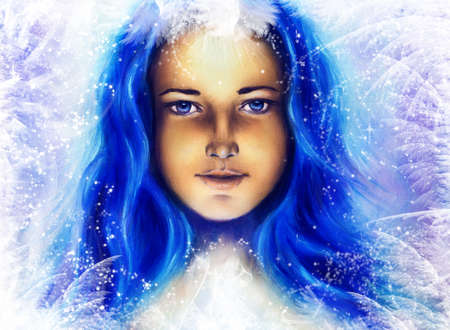Ice queen - beautiful woman in winter, painting collage photo