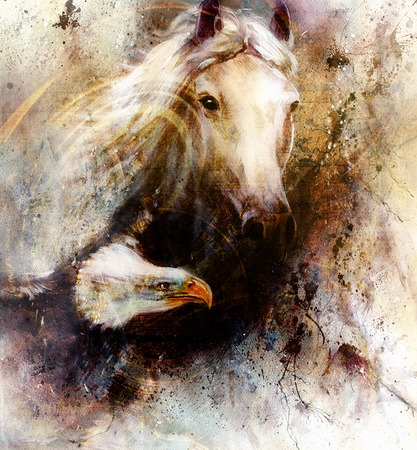 horse fly: beautiful painting of a white horse with a flying eagle, on an abstract textured background