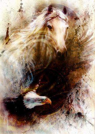 signo de pesos: caballo blanco con una ilustración hermosa águila volando la pintura con la estructura van dolar, en una textura de fondo abstracto