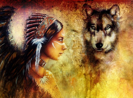 american native: young indian woman wearing  with  wolf and feather headdress, painting  collage