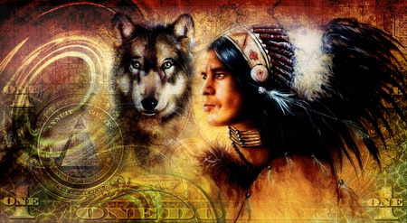 one dollar collage with indian man warrior with wolf, ornament background Stock Photo
