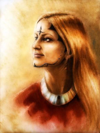 enchanting: young enchanting woman with long wavy hair, ornamental tattoo on face