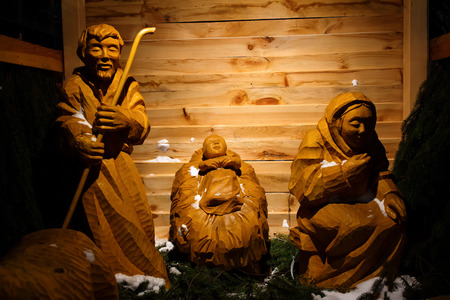 Wooden christmas nativity scene – the holy family, life size photo