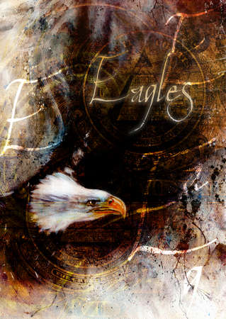 bald woman: painting  eagle with black feathers on an abstract background , USA Symbols Freedom, with text