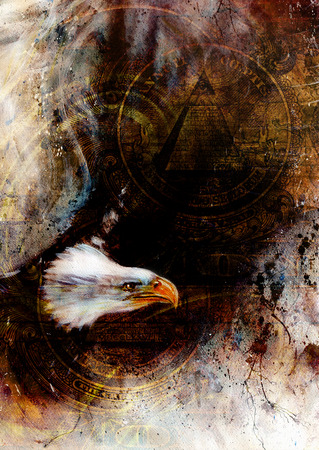 american silver eagle: flying eagle beautiful painting illustration, with one dollar collage. texture background