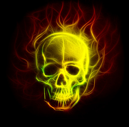 airbrush: Skull fractal ornament background with airbrush coloor painting