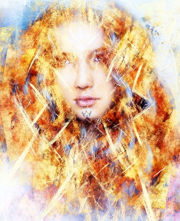 enchanting: beautiful airbrush painting of an enchanting woman face with structure colour background, fire effect Stock Photo