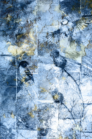 blue crackle wall texture, color crackle background. With Bird
