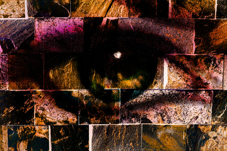 woman eye, on wall structure background. The brick painting concept. photo