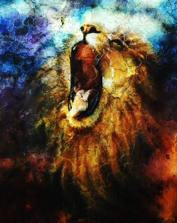 painting of a mighty roaring lion emerging from an abstract desert pattern, pc collage Stock Photo