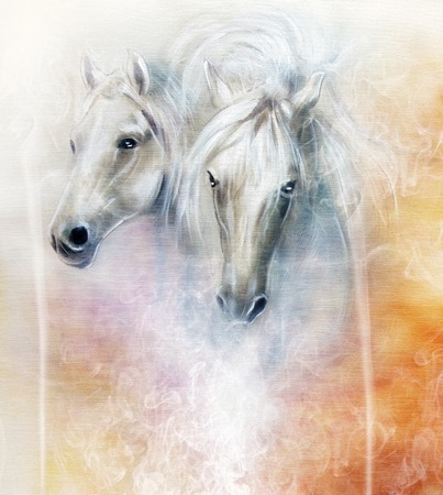 palm oil: Two white horse spirits above a shaman hand, beautiful detailed oil painting on canvas Stock Photo