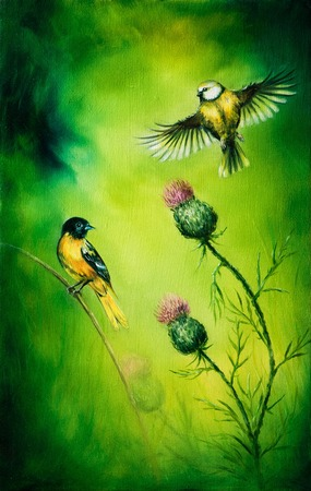 ornitology: pair of songbirds flattering above a distel flower, on an emerald green background