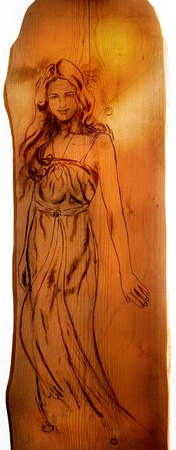angel alone: Angel woman  sepia painting on wood,isolated on white background, with clipping path