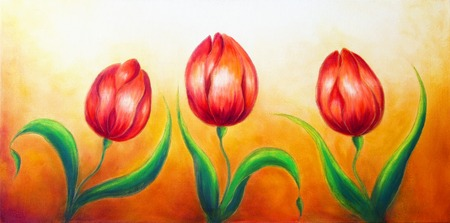 red tulip: Flower motive, three dancing red tulip flowers, beautiful bright colorful painting on ocre background Stock Photo