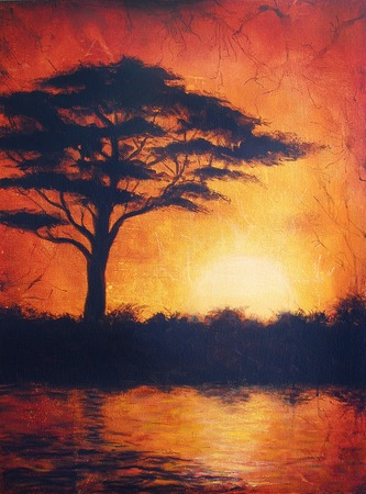 africa sunset: Sunset in africa in bright orange tones with a tree silhouette, beautiful colorful painting