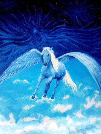 Flying white pegasus horse high up in the skies, beautiful detailed oil painting on canvas