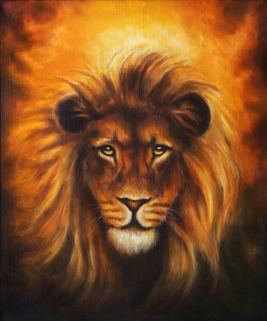 León de cerca retrato, cabeza del león con la melena de oro, bella pintura detallada óleo sobre lienzo, el contacto visual Foto de archivo