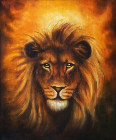 oil painting: Lion close up portrait, lion head with golden mane, beautiful detailed oil painting on canvas, eye contact