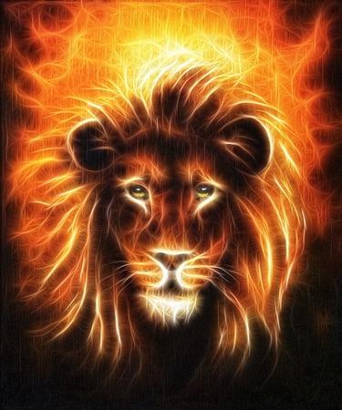 Lion close up portrait, lion head with golden mane, beautiful detailed oil painting on canvas, eye contact fractal effect Foto de archivo