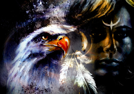 native  woman, on abstract color background with wild animals.  eagles Standard-Bild