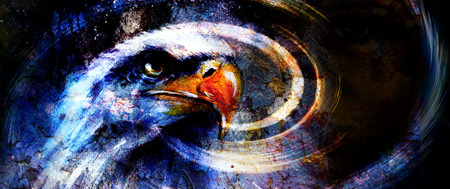 painting  eagle on an abstract background, with crackle structure  USA Symbols Freedom. photo