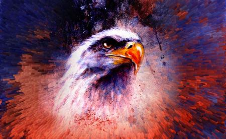 halcones: pintura hermosa de �guila sobre un fondo abstracto, color con estructuras planas. Foto de archivo