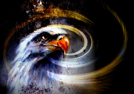 native  woman, on abstract color background with wild animals.  eagles Stock Photo
