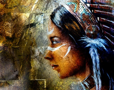 headdress: young indian woman wearing a big feather headdress, on wall background collage