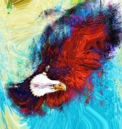 aguila americana: pintura del águila con las plumas negras sobre un fondo abstracto, USA Freedom Símbolos