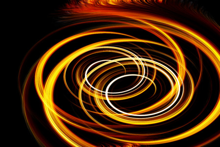 bstract: Beautiful bstract fiery circle on a black background Stock Photo
