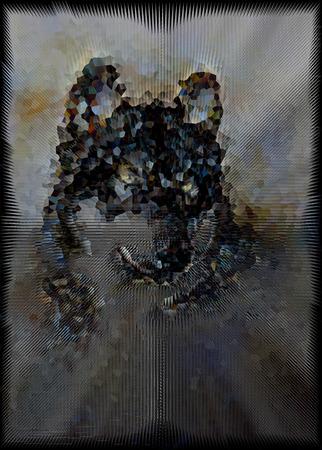 triangular eyes: Wolf  illustration. Low poly design. Stock Photo