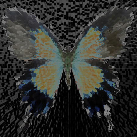 medium: illustration of a butterfly, mixed medium, color background