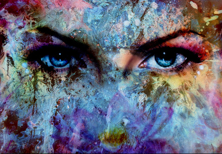 eyes looking up: women eyes and painting color effect, make up and eye contact.