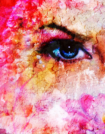 enchanting: blue women eyes beaming up enchanting from flower,on pink abstract background. Stock Photo