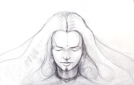Bleistiftzeichnung schöne Meditation Mädchen, und Tätowierung auf Gesicht. und Sternohrring. Standard-Bild - 41237631