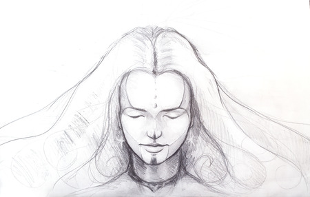 Pencil drawing of beautiful meditation girl, and tattoo on face. and star earring.