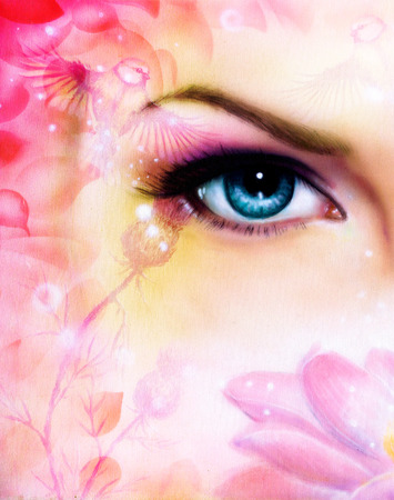 eyes looking up: blue women eye beaming up enchanting from behind a blooming rose lotus flower, with bird on pink abstract background. Stock Photo