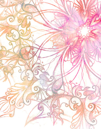 anahata: pink ornament Mandala and fractal color effect Stock Photo