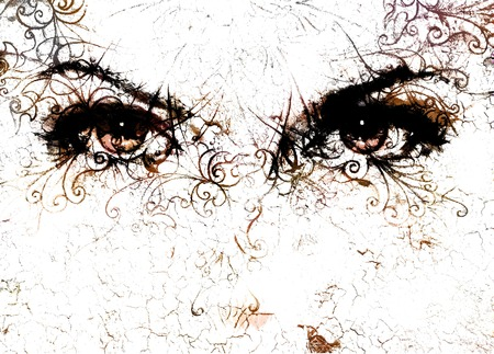 eyes looking up: women eyes and  crackle effect and ornaments on white background