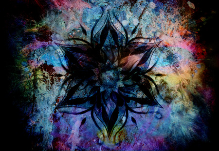 anahata: Flower Mandala and  color abstract  background