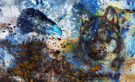 Wolf and eagle color painting, feathers background, multicolor collage illustration. White lightning.