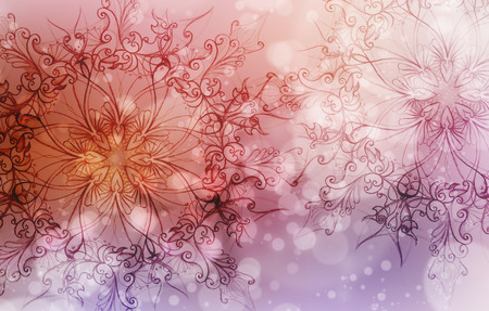 Flower Mandala on a pink and violet abstract  background and circle bokeh Banque d'images