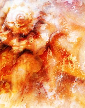 mixed: Abstract painting sea shell, mixed media art background