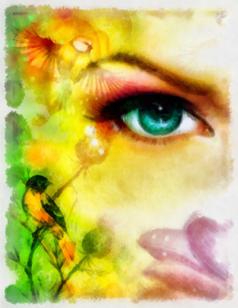 aquarel: blue goddness women eye with birds on multicolor aquarel background. eye contact Stock Photo