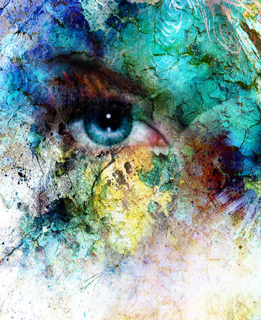 beautiful blue women eye beaming, color desert crackle effect, painting collage, artist makeup.