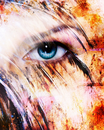 spirit medium: beautiful blue women eye beaming, color feathers effect, painting collage, phoenix makeup Stock Photo