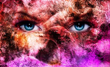 ave fenix: mujeres azules hermosos ojos, efecto del color, collage pintura, maquillaje violeta y adornos. con ave fénix