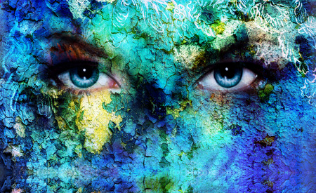 beautiful blue women eyes beaming, color desert crackle effect, painting collage, artist makeup