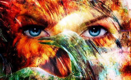 beautiful blue women eyes beaming, color feathers effect, painting collage, and bird phoenix, artist makeup photo